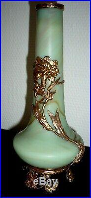 1900 ART NOUVEAU SEVRES Paire de vase en PATE de VERRE et METAL décor floral