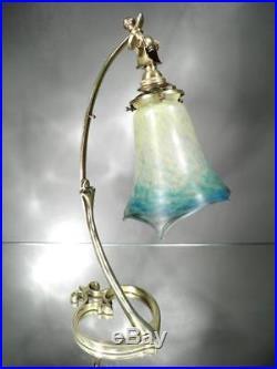 1910-20 Muller Frères Lampe En Bronze Doré Et Pte De Verre Art Nouveau