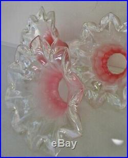 3 Tulipes en verre rose opalescent fleur 1900 Art Nouveau / Déco Was Benson