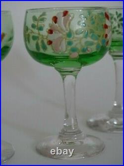 6 Anciens Verres Liqueur Verrerie Legras En Ouraline Emaille Art Nouveau