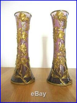 A voir Belle paire Vases Verre Art Nouveau Monture Laiton Doré Style Majorelle