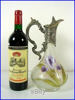 Aiguière Art Nouveau Legras en verre givré à décor émaillé de Iris H-29 cm TBE