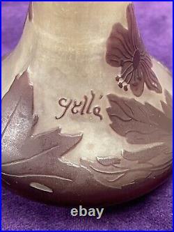 Ancien Et Authentique Vase Galle Pte De Verre Dégage À Lacide Art Nouveau 1900