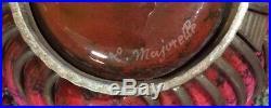 Ancien Vase art nouveau en fer et verre Daum, Nancy et majorelle