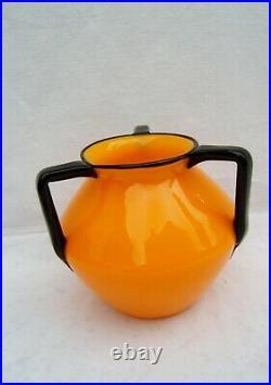 Ancien vase Loetz en verre orange a 3 anses 1920 art nouveau jugendstil