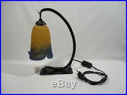 Ancienne Lampe En Fer Forge Tulipe Pate De Verre Rethondes Old Lamp Alte Lampe