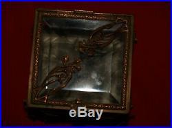 Ancienne boite à bijoux bronze et verre bisauté/art nouveau