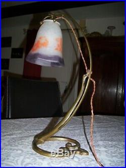 Antique c1910 Art Nouveau Desk Table Lamp French Bronze TULIPE Shade SCHNEIDER