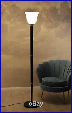 Art Deco Mazda Torchère Lampe sur Pied Abat-Jour en Verre Couvrir Fluter Ampoule
