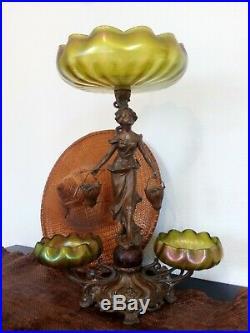 Art Nouveau 1900 Rare Statue Loetz Crete Siberiris Centre De Table