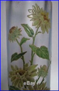 Beau grand vase rouleau verre émaillé 1900 LEGRAS Art Nouveau Tournesols 40 cm
