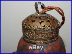Belle Lampe et Coupe Pate de Verre Art Nouveau Décor Lacustre Signée Deveau