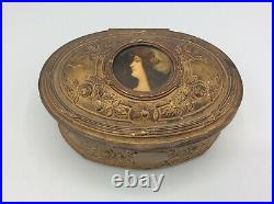 Boîte coffret à bijoux régule doré et fixé sous verre profil femme Art Nouveau