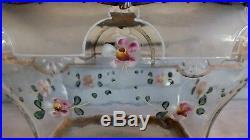 Boite seau biscuit verre émaillé décor fleurs art nouveau cookie bucket