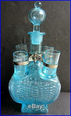 Carafe à liqueur + 4 verres bleus, service Legras Art Nouveau Cabaret Zanzibar
