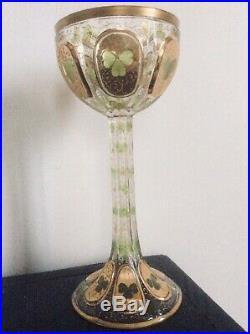 Coupe Calice Verre Emaillé Art nouveau Arts And Crafts Antique Glass +++