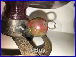 Coupe aux cerises SCHNEIDER, verre marmoréen Art Nouveau et fer forgé