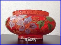 Coupe jardinière verre soufflé coloré rouge à décor floral de Legras Art Nouveau