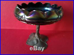 Coupe sur pied Art Nouveau1900 verre Irisé Kralik Loetz Jugendstil Art glass