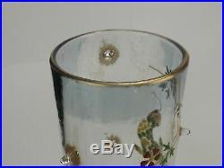 Cristallerie d'Emile Gallé, Paire de Vases décor de Salamandres Fleurs Emaillées