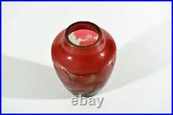 D'Argental Style Art Nouveau Cameo Vase en Verre ° Design Paul Nicolas Nancy