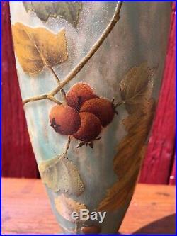 Daum Frères Nancy Vase Aubépines Art Nouveau gallé le verre français