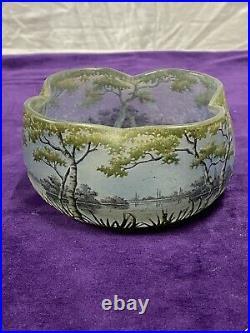 Daum Magnifique Vase Pte De Verre Dégage À Lacide Décor Paysages Art Nouveau