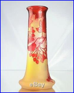 Emile Gallé Beau Vase Groseilles Pâte de Verre Gravé Brillant ART NOUVEAU