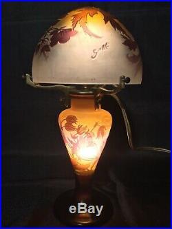 Émile Gallé Lampe Champignon Hibiscus Art Nouveau daum le verre français
