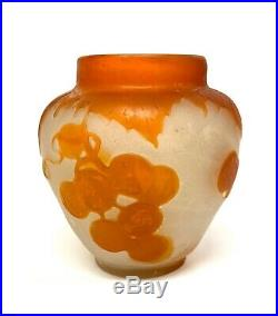 Emile Gallé Vase En Pate De Verre A Decor Orange, Art Nouveau Vers 1900