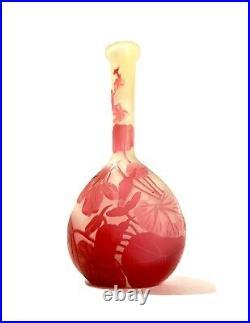 Emile Gallé Vase Soliflore De Forme Gourde En Pate De Verre Art Nouveau