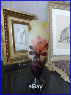 Emile galle art nouveau pate de verre 3 couleurs cameo etched glass mint
