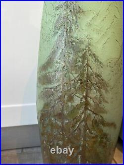 Énorme LEGRAS Superbe vase Arbres pate de verre Galle Daum art nouveau