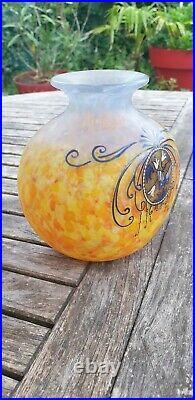 Francois Theodore Legras (1839-1916) Vase En Pate De Verre Emaille Art Nouveau
