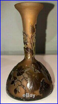 GALLÉ Vase En Verre Multicouches Signé. Art Nouveau