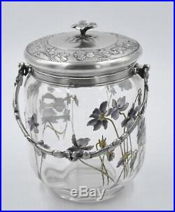GALLIA / Christofle Pot à biscuit en verre émaillé décor de fleurs ART NOUVEAU