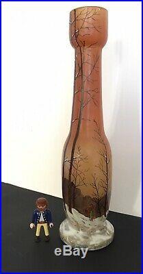 GRAND 37cm Vase Verre Emaillé François-Théodore LEGRAS Art-Nouveau XIXe Neige