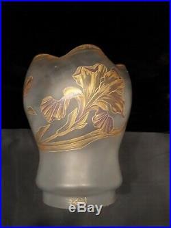 Globe TULIPE verrerie PANTIN LAMPE A PÉTROLE verre huile oil lamp shade globe