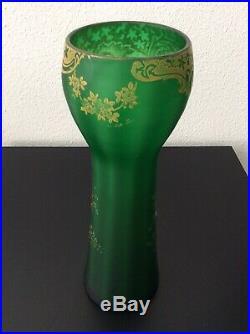 Grand vase verre soufflé coloré vert émaillé à décor floral Legras Art Nouveau