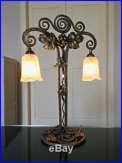 Grande Lampe De Table Art Deco Fer Forge Double Potence Tulipes