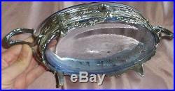 Jardinière / centre de table en métal argenté & verre bleu de style éclectique