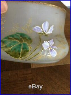 Joli Jardinière En Verre Givre Émaillé Violettes Montjoye Legras Art Nouveau