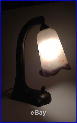 LAMPE ART NOUVEAU TULIPE PTE de VERRE SIGNÉE LORRAIN ORIGINE ALLEMAGNE