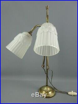 LAMPE BUREAU BRONZE ANCIEN ART NOUVEAU 2 FEUX TULIPES VERRE PRESSÉ H 57,5 cm