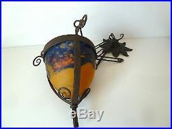 LUSTRE OBUS ART NOUVEAU 1900 pâte DE VERRE FER FORGÉ wrought iron chandelier