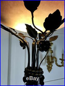 Lampadaire Art Deco En Fer Forgé Et Dôme En Pate De Verre De 171 CM De Haut