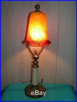 Lampe Art Nouveau Bronze/tulipe Pate De Verre Signee Le Verre Francais Pas Daum