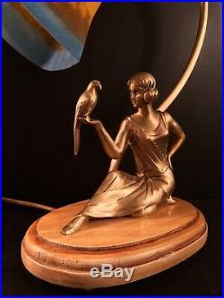 Lampe Femme Bronze Art Déco / Art Nouveau, Tulipe Signée Muller Frères