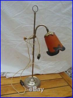 Lampe Floriforme De Bureau Art Nouveau Pte De Verre Signée Degue / Originale