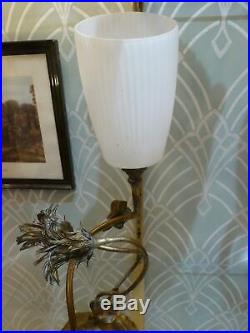 Lampe à poser pied Art Nouveau en bronze décor de chardons tulipe en verre fumé